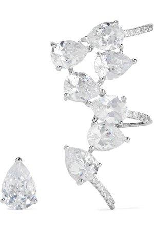 Kenneth Jay Lane | Boucles d'oreilles en métal argenté et zircons cubiques | NET-A-PORTER.COM