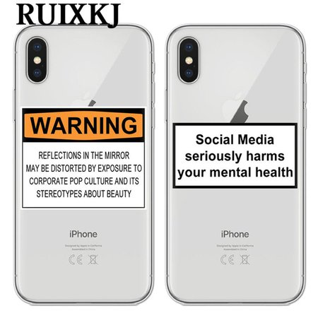 social media seriously harms your mental health soft Silicone clear cover phone case for iPhone XR XS Max 6 7 8 plus 5 5s 6s se-in Fitted Cases from Cellphones & Telecommunications on Aliexpress.com | Alibaba Group