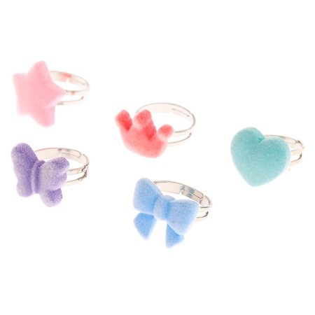 Claire's Club Fuzzy Shape Rings - 5 Pack   Claire's US