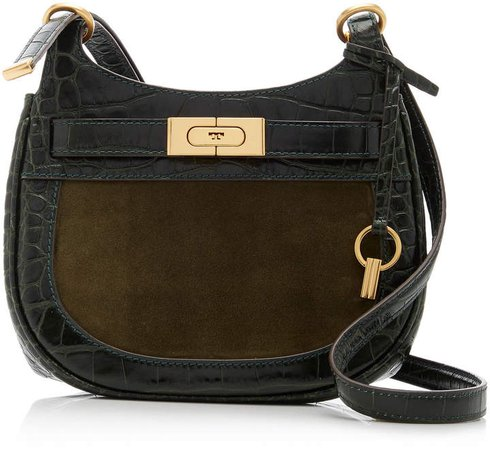 Tory Burch Lee Radziwill Embossed Frame Small Saddlebag