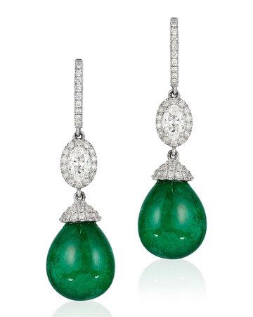 Andreoli 18k White Gold, Emerald & Diamond Drop Earrings | Neiman Marcus