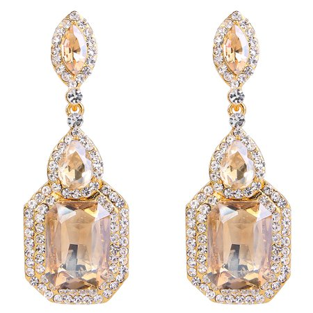 BriLove Wedding Bridal Dangle Earrings for Women Emerald Cut Crystal Infinity Figure 8 Chandelier Earrings Champagne w/Clear Gold Toned | Product Details