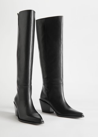Western Knee High Leather Boots - Black - Knee high boots - & Other Stories black
