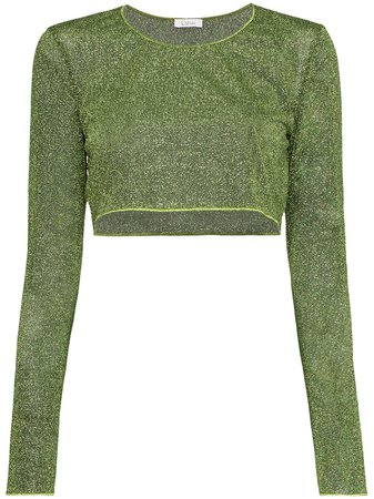 Green Oséree Lumiere Lurex cropped top - Farfetch
