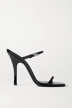 Zoe Patent-leather Sandals - Black