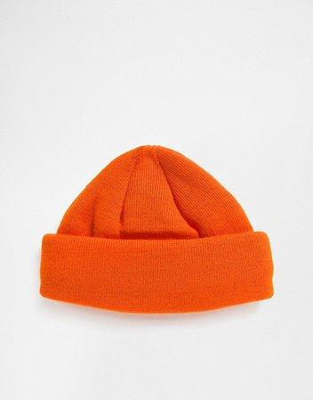 ASOS DESIGN mini fisherman beanie in orange   ASOS