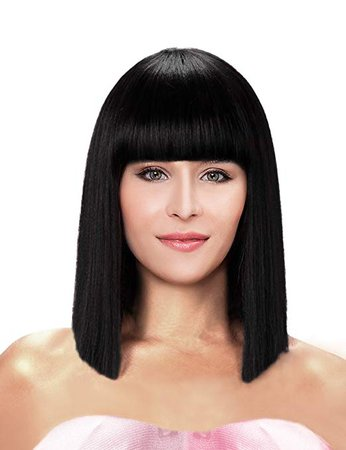 Amazon.com : Kalyss Short Straight Shoulder Length Black Yaki Synthetic Bob Hair Wig Heat Resistant Full Hair Replacement Wig with Bangs Wig for Women : Beauty