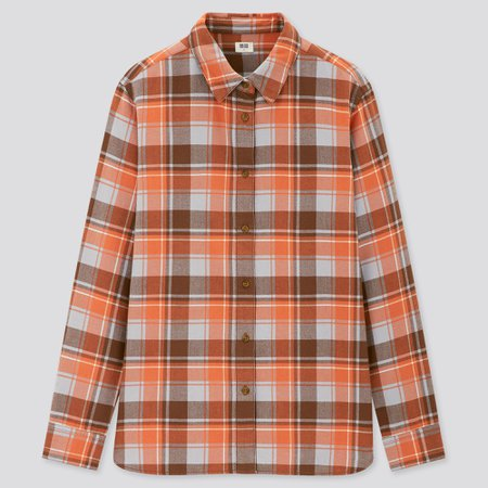 Women Flannel Checked Long Sleeved Shirt | UNIQLO