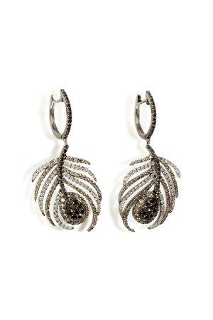 Black Rhodium/Diamond Paradise Peacock Earrings Gr. One Size