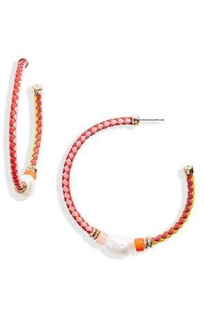Kendra Scott Raven Beaded Genuine Pearl Hoop Earrings | Nordstrom