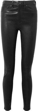 Stretch-leather Skinny Pants - Black