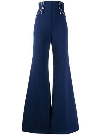 Elisabetta Franchi Stripe Detail Flared Trousers Ss20 | Farfetch.Com