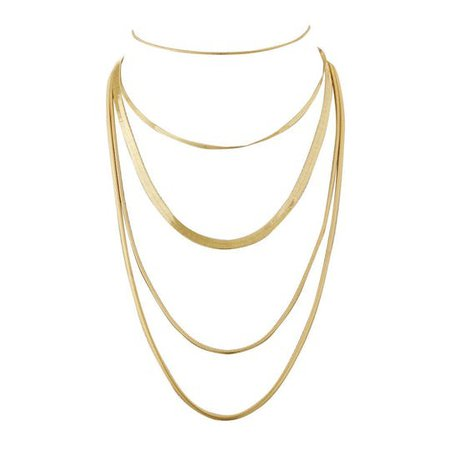 Cascading Snake Chain Necklace- Gold by Luv Aj | Spring - Free Shipping. On Everything