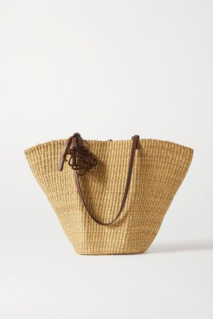 Shell Leather-trimmed Woven Raffia Tote - Tan