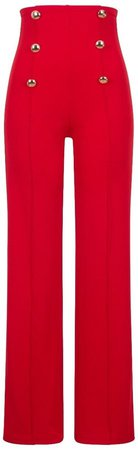*Girls On Film Red Wide Leg Trousers