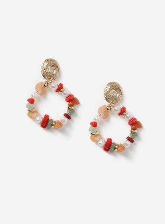 Red Chip Drop Hoop Earrings | Miss Selfridge