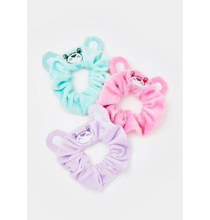 Dolls Kill X Care Bears Fuzzy Embroidered Scrunchie Set - Pink Green Purple | Dolls Kill