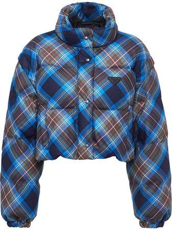 Prada plaid-print Puffer Jacket - Farfetch