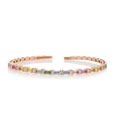 Suzanne Kalan - Bracciale Pastel Fireworks in oro rosa 18kt con diamanti e zaffiri | Mytheresa