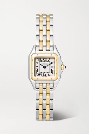 Gold Panthère de Cartier 22mm small 18-karat gold and stainless steel watch | Cartier | NET-A-PORTER