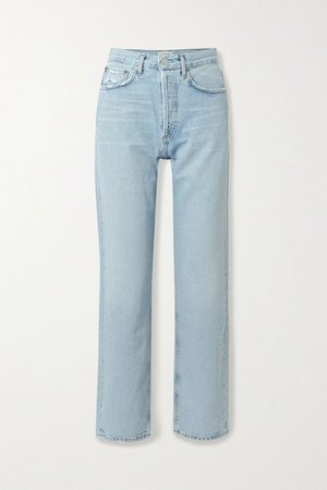 Mid denim '90s distressed mid-rise straight-leg jeans | AGOLDE | NET-A-PORTER