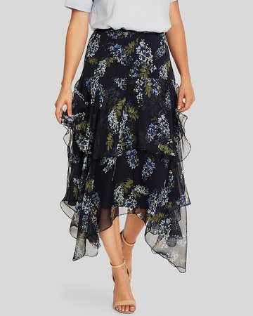 Floral-Print Tiered Skirt