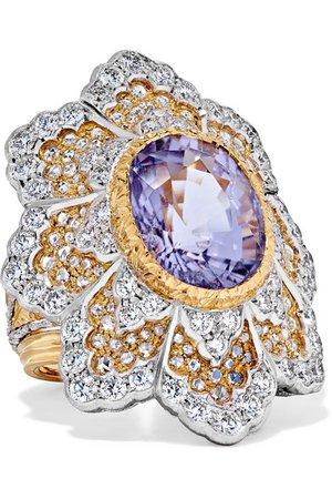 Buccellati | 18-karat yellow and white gold diamond and tourmaline ring | NET-A-PORTER.COM