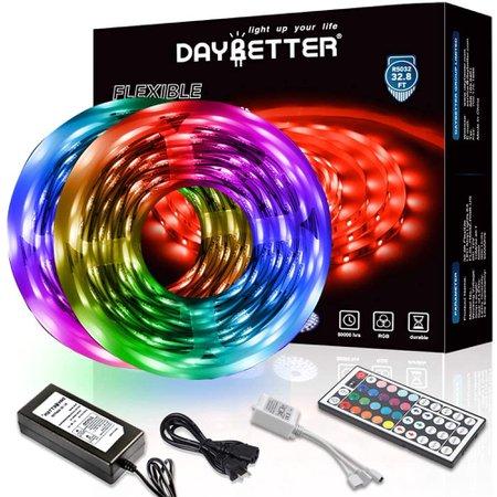 DAYBETTER Led Strip Lights 32.8ft 10m with 44 Keys IR Remote and 12V Power Supply Flexible Color Changing 5050 RGB 300 LEDs Light Strips Kit for Home, Bedroom, Kitchen,DIY Decoration - Walmart.com - Walmart.com