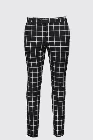 Windowpane Check Smart Formal Trouser | Boohoo