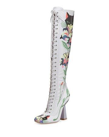 Miu Miu Floral-Print Patent Lace-Up Boot, Gray