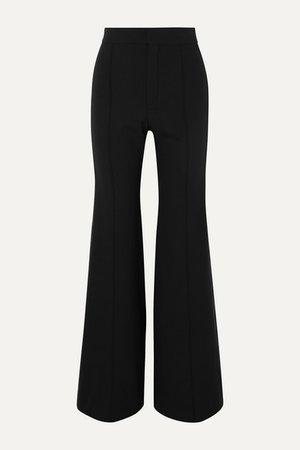 Silk-blend Satin-trimmed Wool-blend Wide-leg Pants - Black