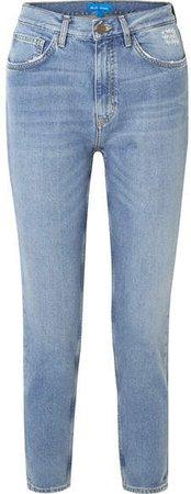 Mimi Cropped Distressed High-rise Slim-leg Jeans - Light blue
