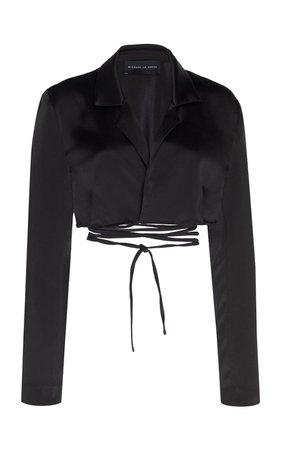 Silk-Satin Cropped Wrap Top by Michael Lo Sordo | Moda Operandi