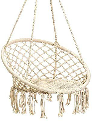 Amazon.com: Karriw Hammock Chair Macrame Swing,Cotton Hanging Macrame Hammock Swing Chair Ideal for Indoor, Outdoor, Home,Bedroom, Patio, Deck, Yard, Garden (Beige): Garden & Outdoor