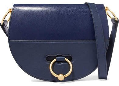 Latch Smooth And Textured-leather Shoulder Bag - Navy