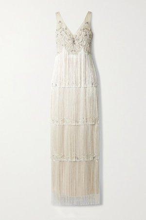 Embellished Fringed Tulle Gown - Beige