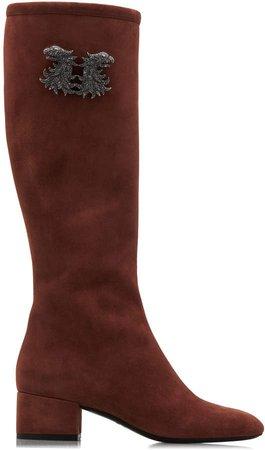 Jewel Buckle Suede Knee-High Boots