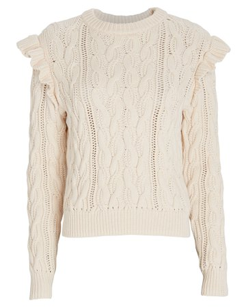 FRAME Sofia Ruffled Cable Knit Sweater | INTERMIX®