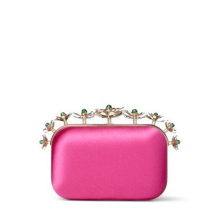 Bubblegum-Pink Satin Clutch Bag with Floral Crown |CLOUD |Cruise '20 |JIMMY CHOO