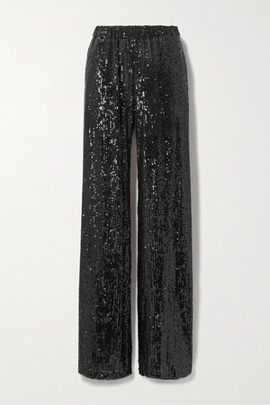 Sequined Knitted Wide-leg Pants - Black