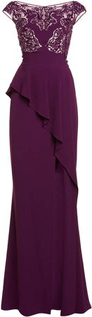 Zuhair Murad Ruffled-Slit Cady Dress