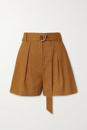 Belted Pleated Linen-blend Shorts - Camel