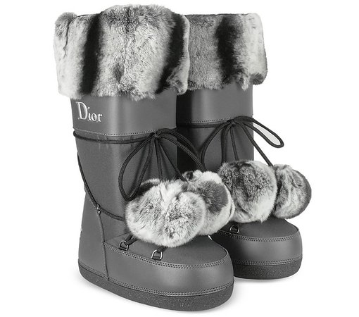 Christian Dior Polaire Signature Gray Moon Boots 6 US | 3.5 UK | 36.5 EU at FORZIERI