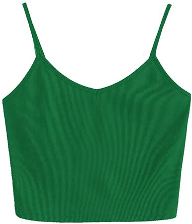 SheIn Women's Casual V Neck Sleeveless Ribbed Knit Cami Crop Top at Amazon Women's Clothing store