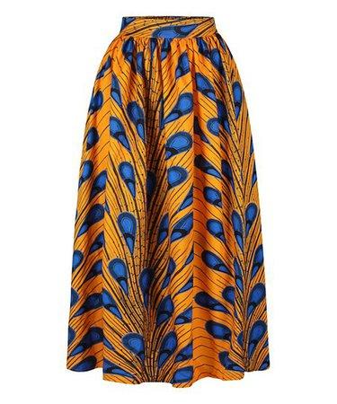 CELLABIE Orange & Blue Peacock Feather Maxi Skirt | Zulily