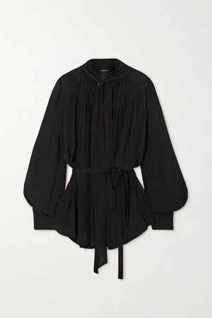 Black Pussy-bow belted chiffon blouse | Ann Demeulemeester | NET-A-PORTER