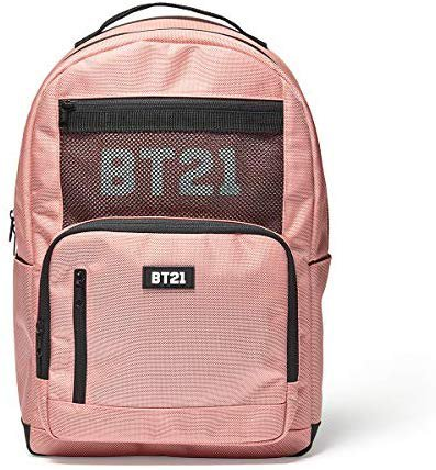 Amazon.com | BT21 Offical Merchandise by Line Friends - Mesh Backpack Travel School Book Bag, Pink | Backpacks