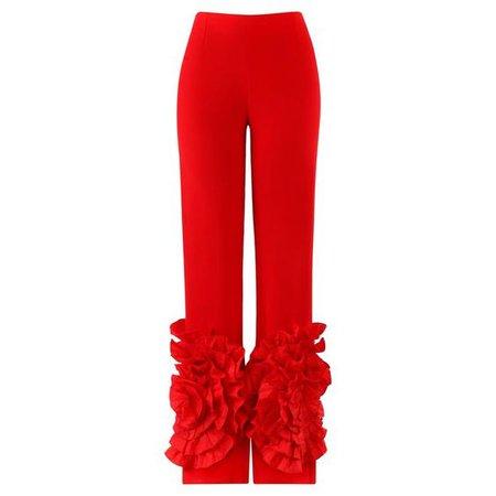 Valentino C.2000 Silk Flamenco Floral Ruffle Trouser Pant, Red