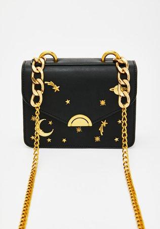 Astrological Gold Chain Shoulder Bag Black | Dolls Kill