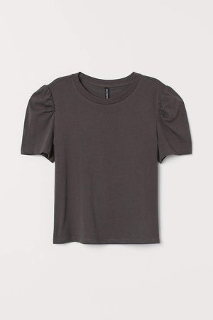 Puff-sleeved T-shirt - Gray